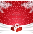 Christmas red card with a white silk White vector image