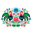 Polish floral embroidery with cocks pattern vector image
