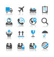 Logistics and shipping icons reflection Vector Image