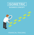 Isometric businessman with magnifying glass vector image