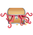 A treasure box with an octopus inside vector image