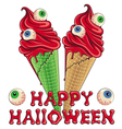 Bloody Halloween ice cream with eyes vector image