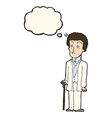 cartoon unhappy gentleman with thought bubble vector image