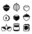 Hazelnuts nuts - food icons set vector image vector image