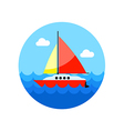 Boat with a Sail icon Summer Vacation vector image
