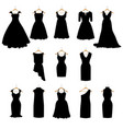 dresses silhouette set vector image