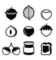 Hazelnuts nuts - food icons set vector image