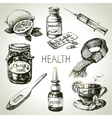 Sketch healthy and medical set Hand drawn vector image