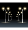 Street lanterns background night dark sky vector image
