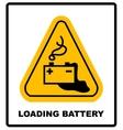 Warning battery charging sign vector image