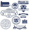 Pittsburgh city Pennsylvania stamps and seals vector image