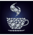 Cup made up a lot of diamonds vector image