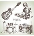 Sketch music set Hand drawn of Dj icons vector image