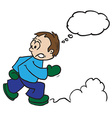 boy running with thought bubble vector image vector image