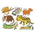 Set of Cute cartoon Animals in the Amazon vector image vector image