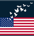 american flag with flying pigeon for vector image