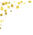 Gold glittering foil flowers on white background vector image
