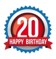 Twenty years happy birthday badge ribbon vector image
