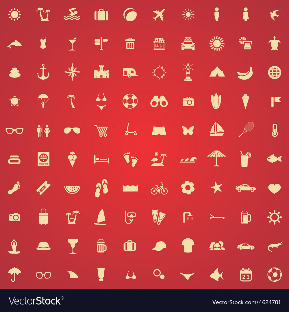 100 beach icons vector