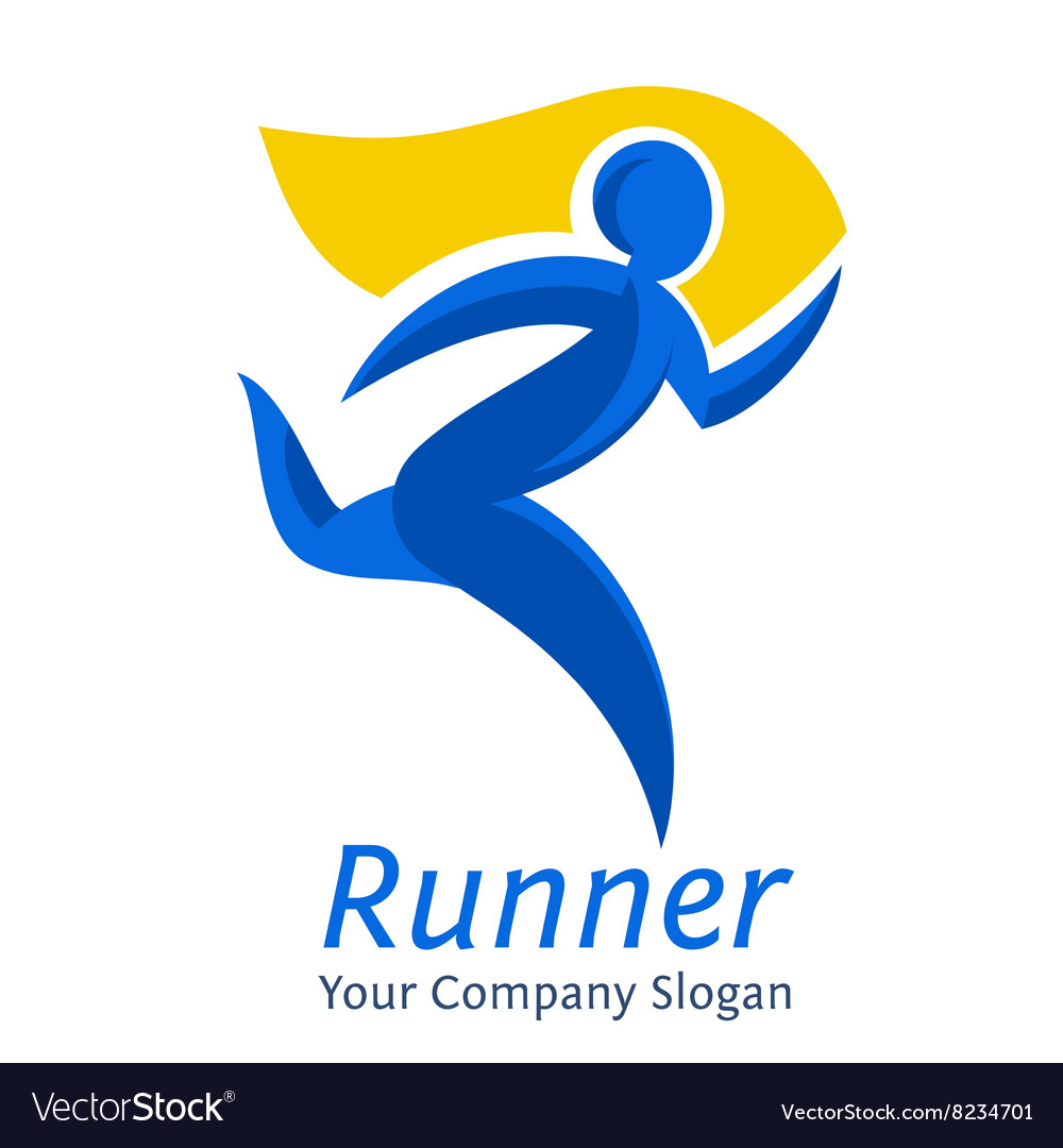 Abstract runner symbol company logo template vector