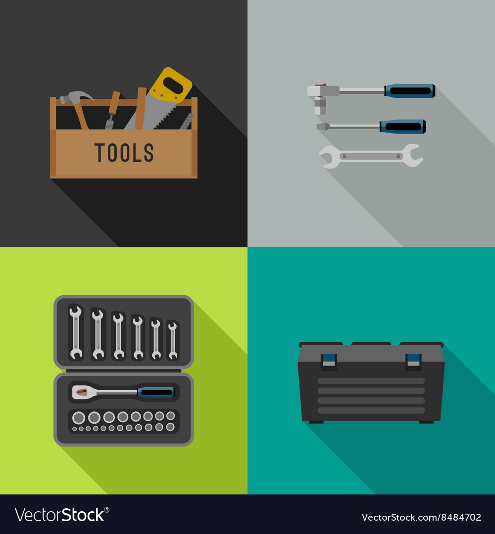Tools flat icons vector