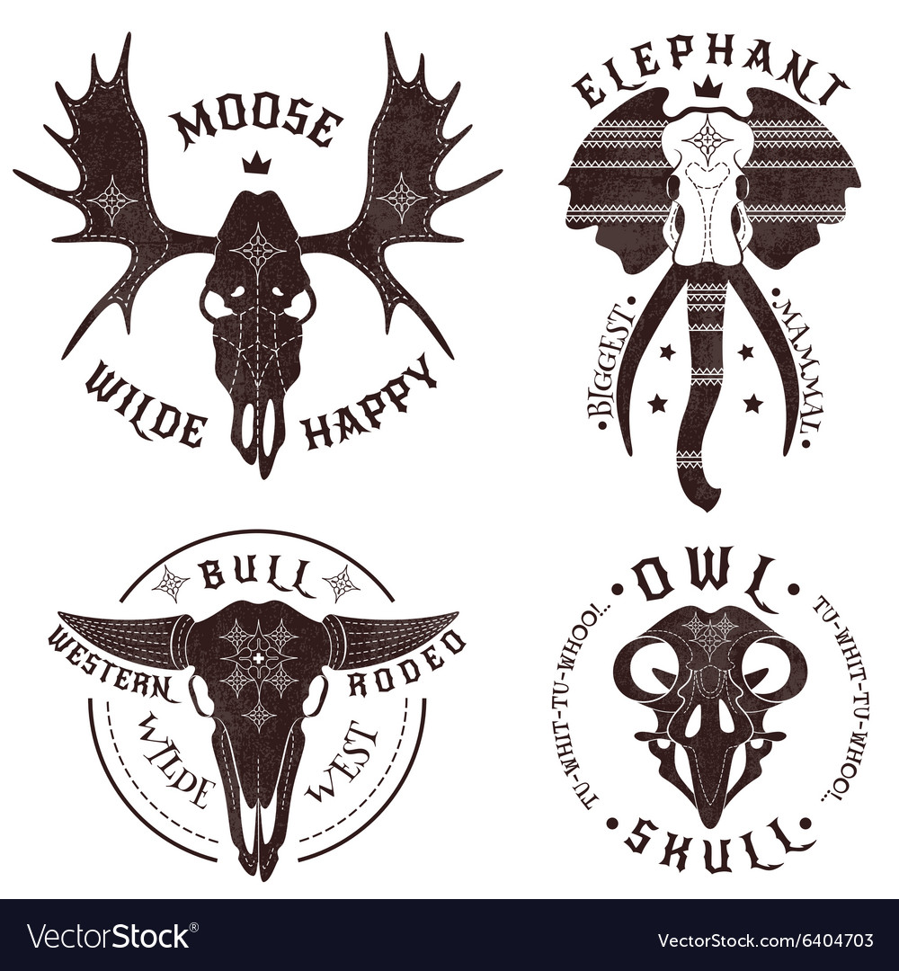 Animal skulls set vector