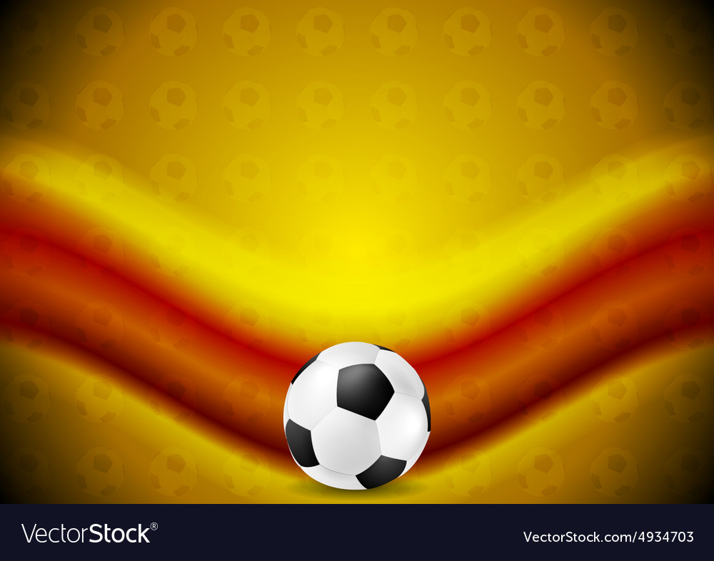 Orange soccer football background with red wave vector