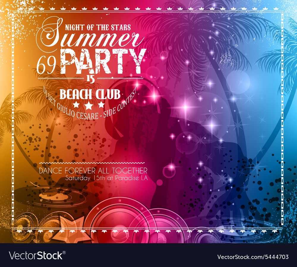 Summer party flyer for music club events vector