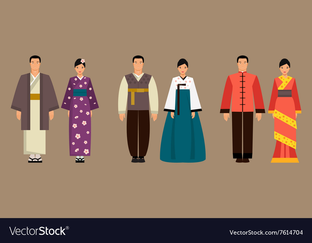 Asian men and women in national costumes vector