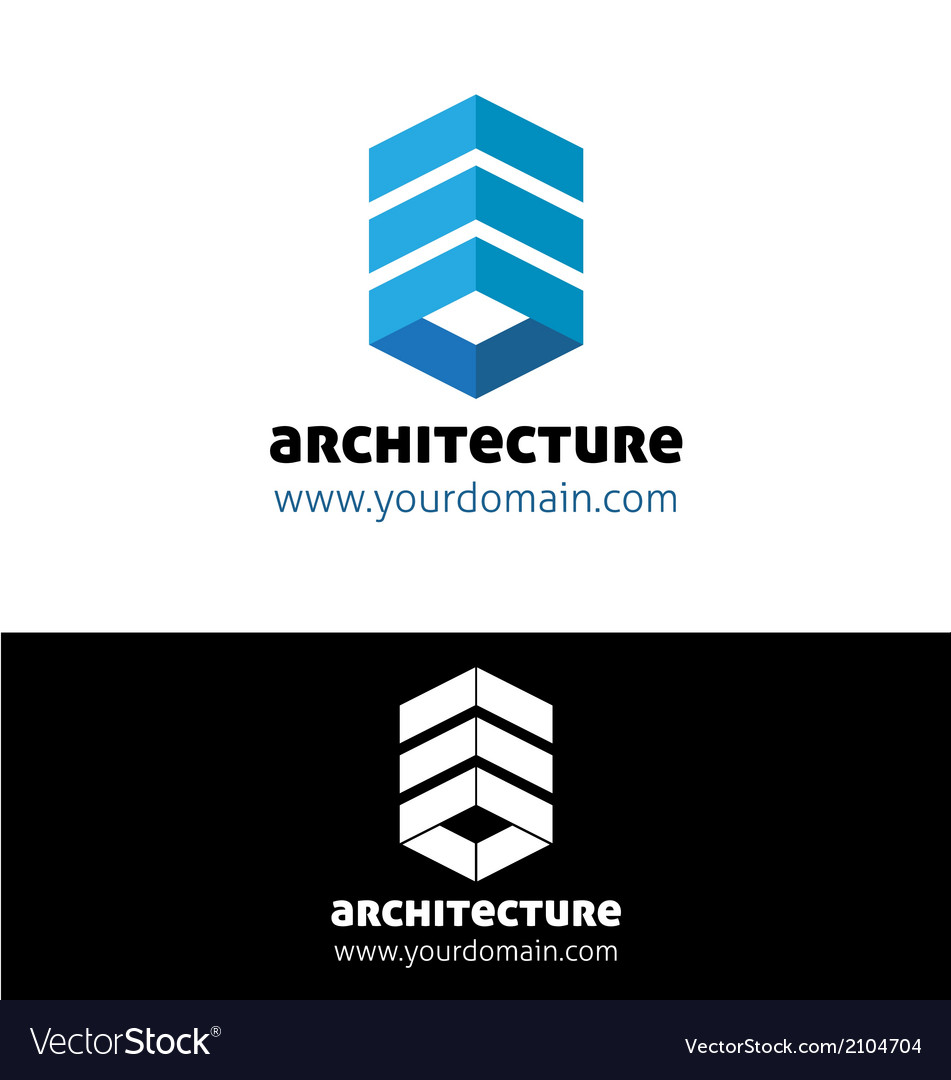 Blue architecture logo template vector