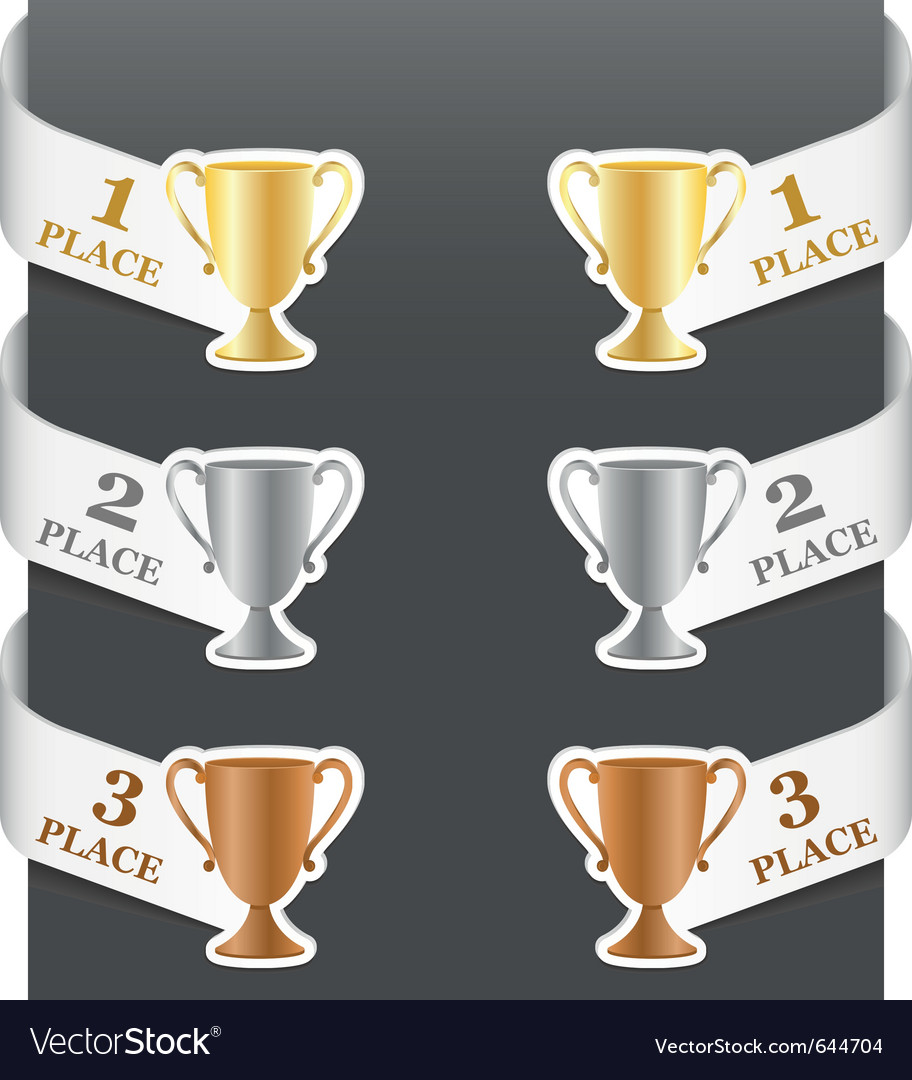 Left and right side signs  trophy cups vector