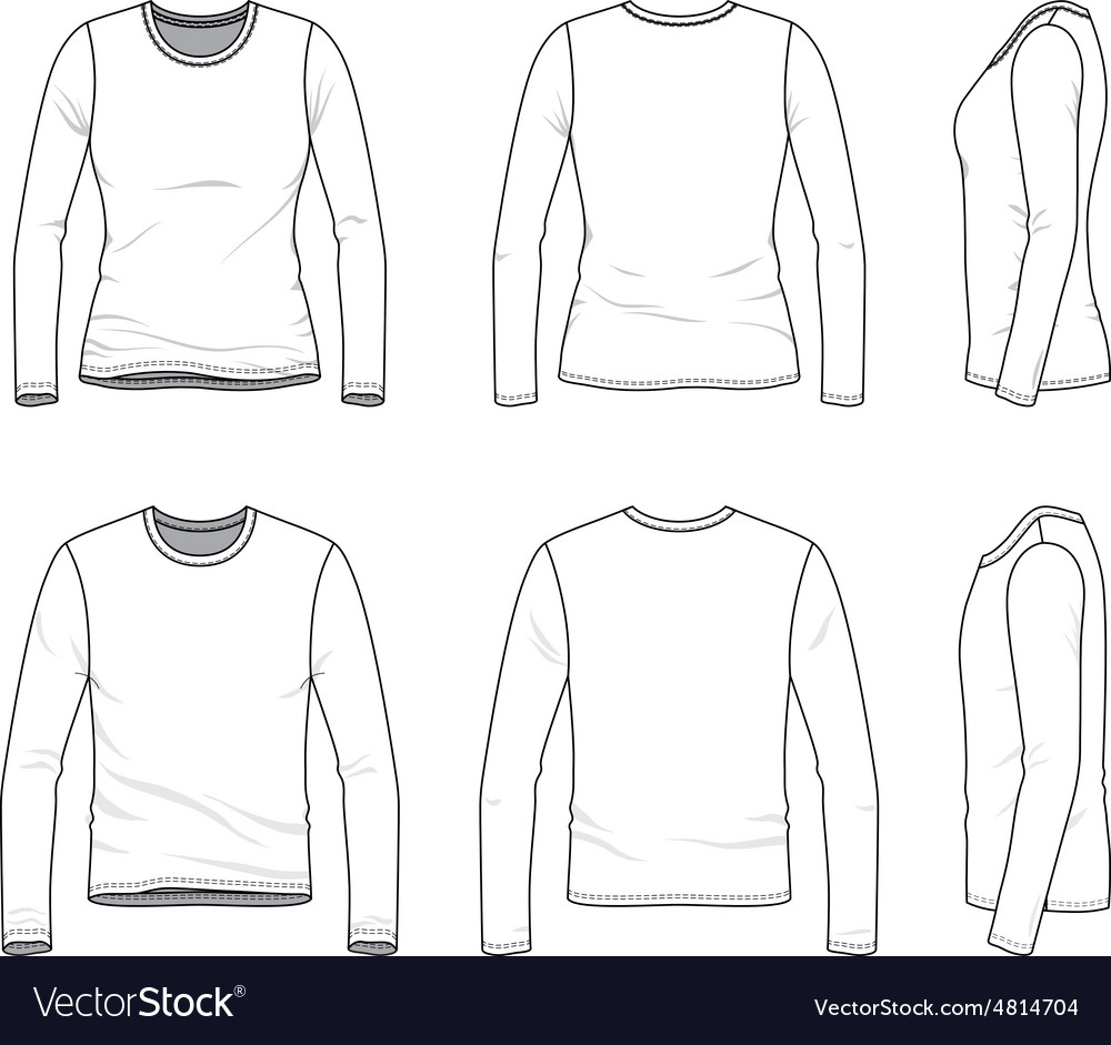 Simple outline drawing of a mens and womens blank vector