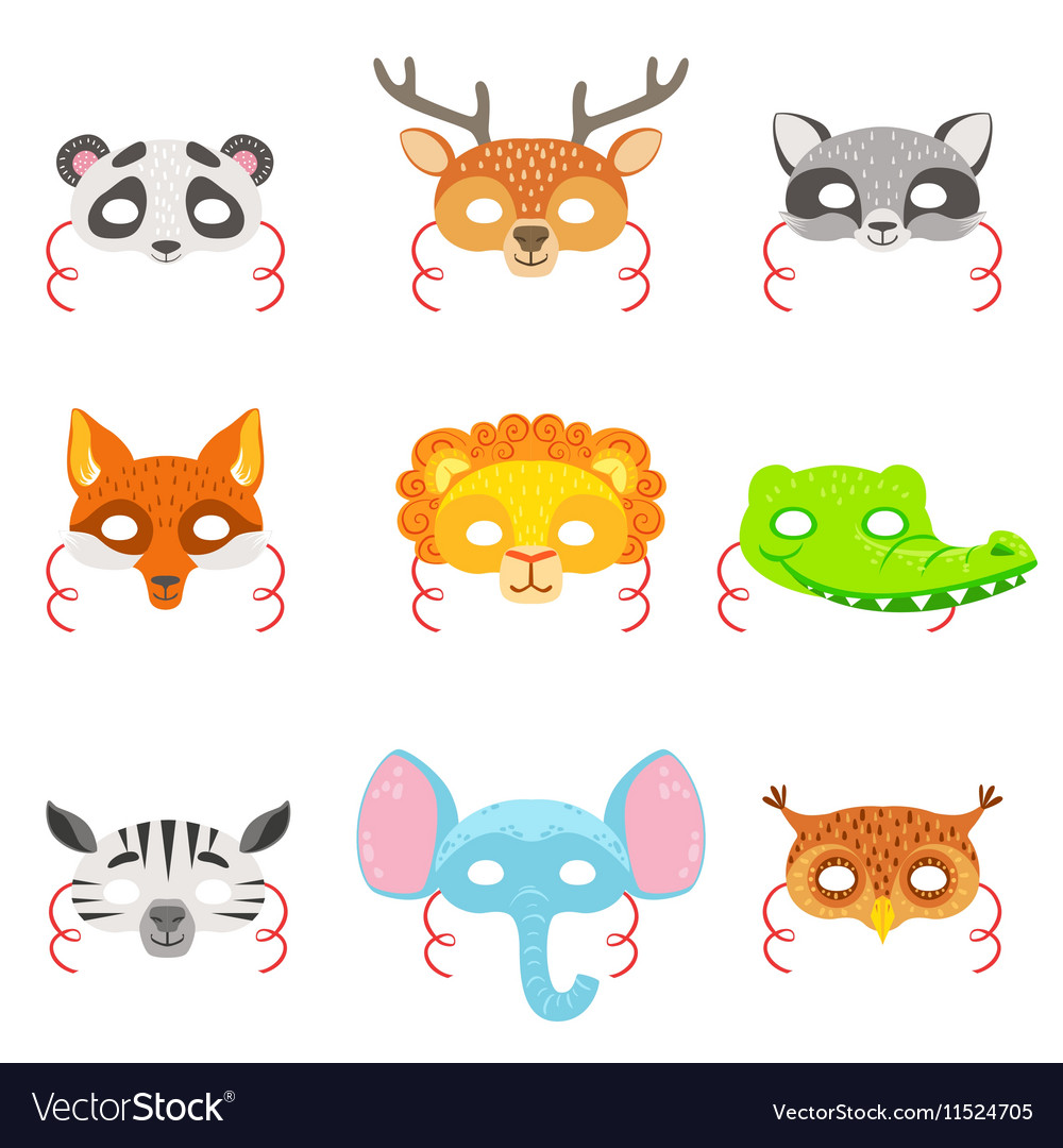 Animal paper masks set of icons vector
