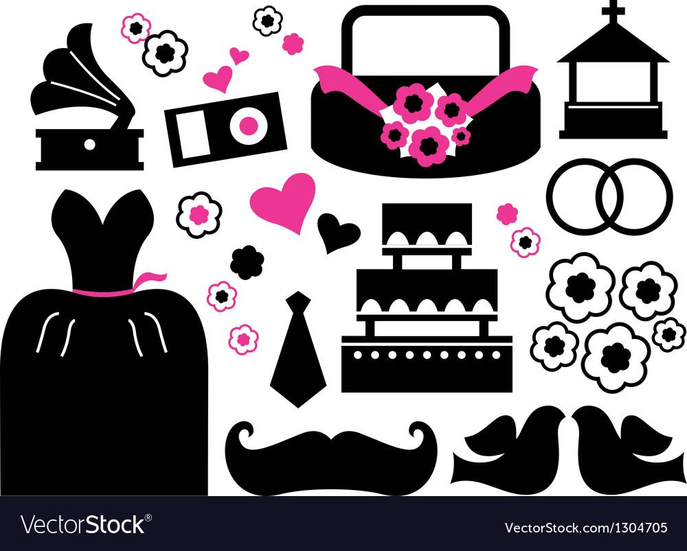 Retro wedding items and design elements vector