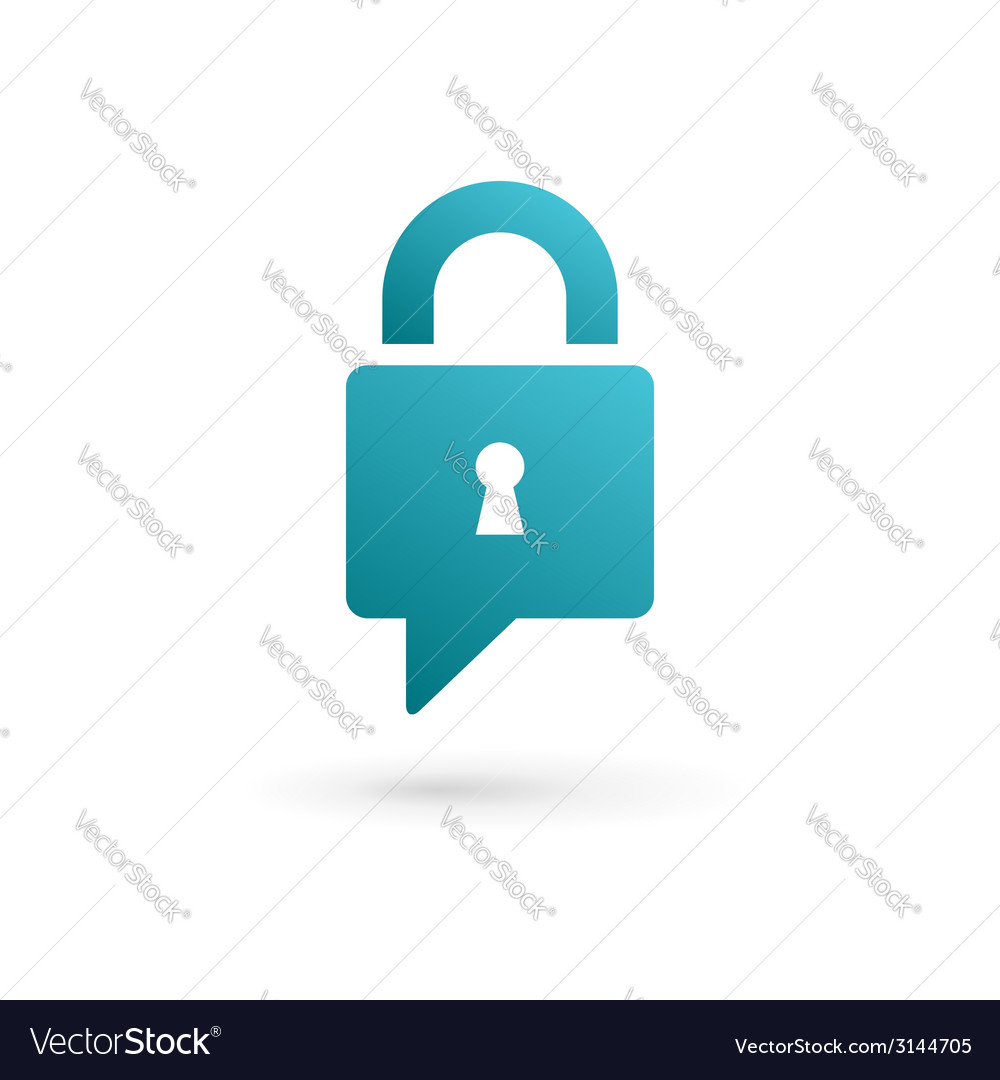 Secure lock speech bubble logo icon vector