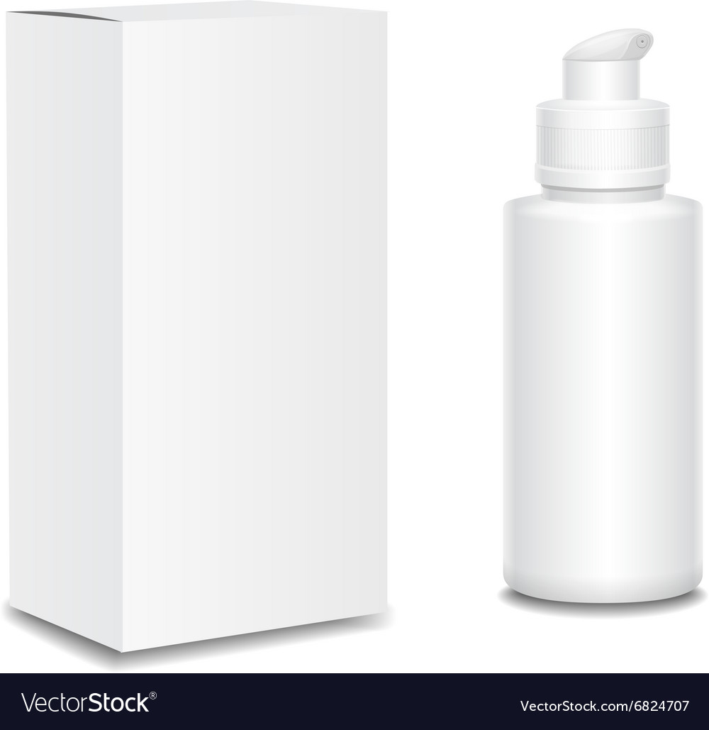 White cosmetics containers plastic bottle with a vector