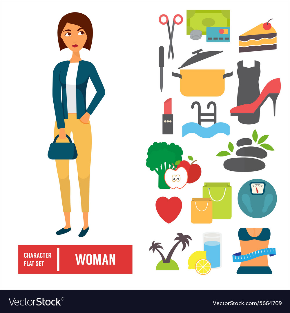 Character set woman casual cloth with icons vector