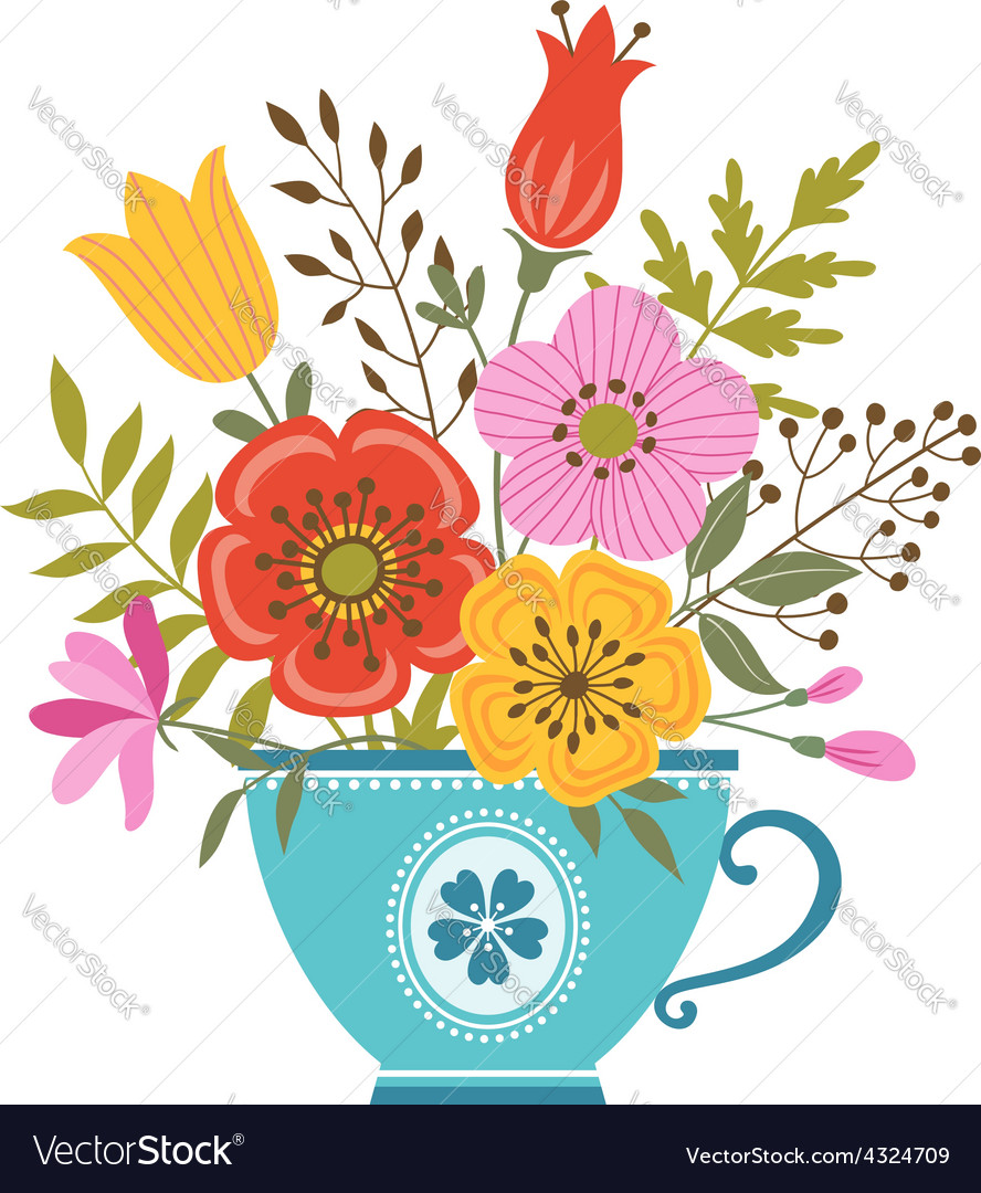 Flower teacup vector