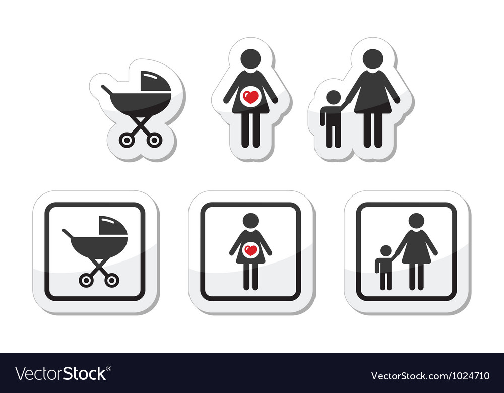 Baby icons set  parm pregnancy mother vector