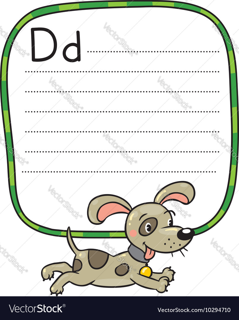 Little dog or puppy for abc alphabet d vector