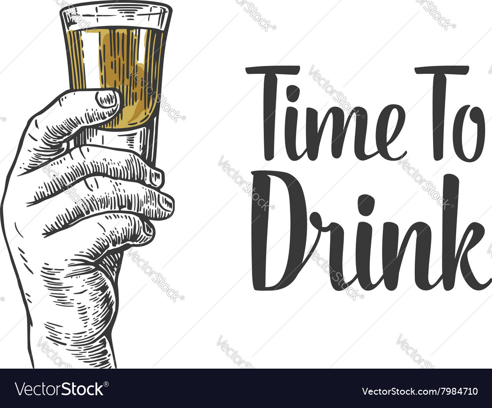 Male hand holding a shot of alcohol drink vector