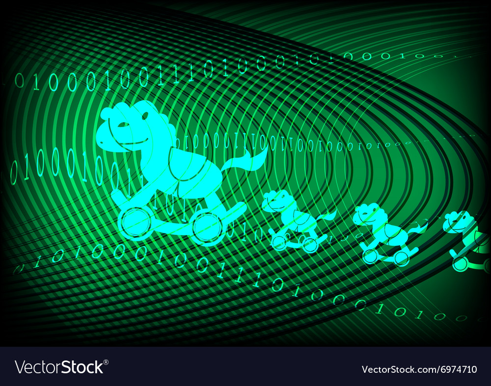 Trojan horse technology green background vector