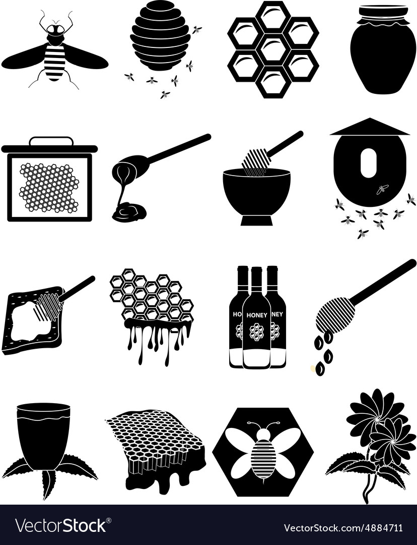 Honey bees icons set vector