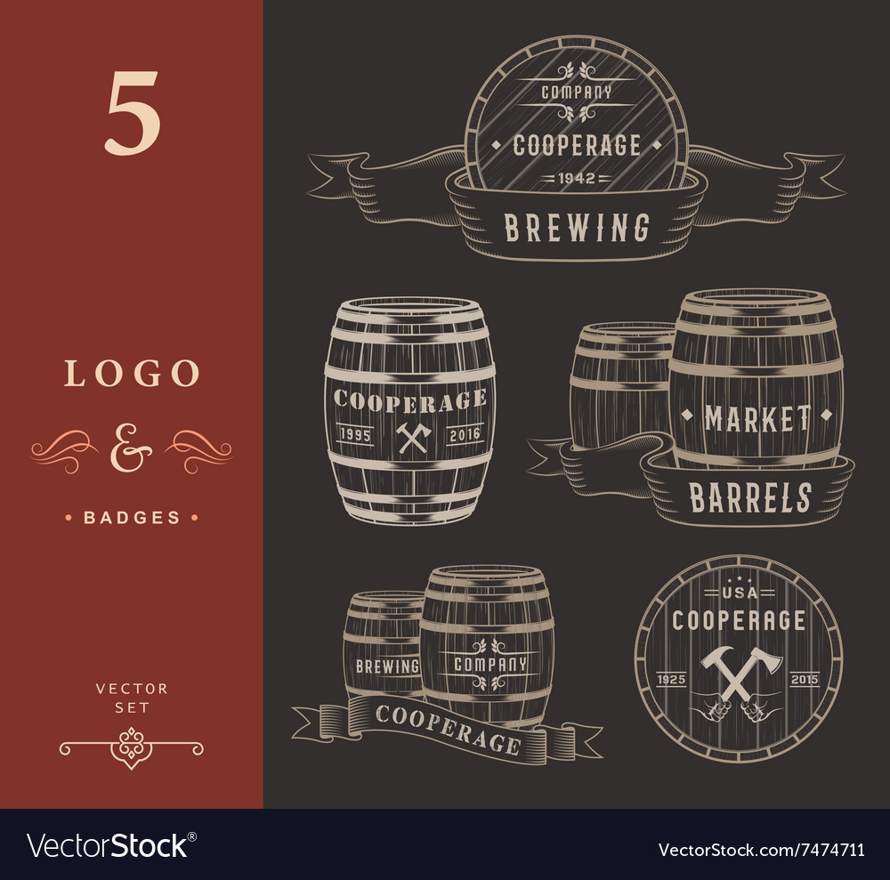 Set wooden casks badges and cooperage logo vector