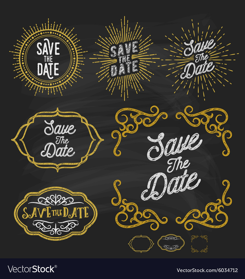 Save the date frame border chalkboard style vector