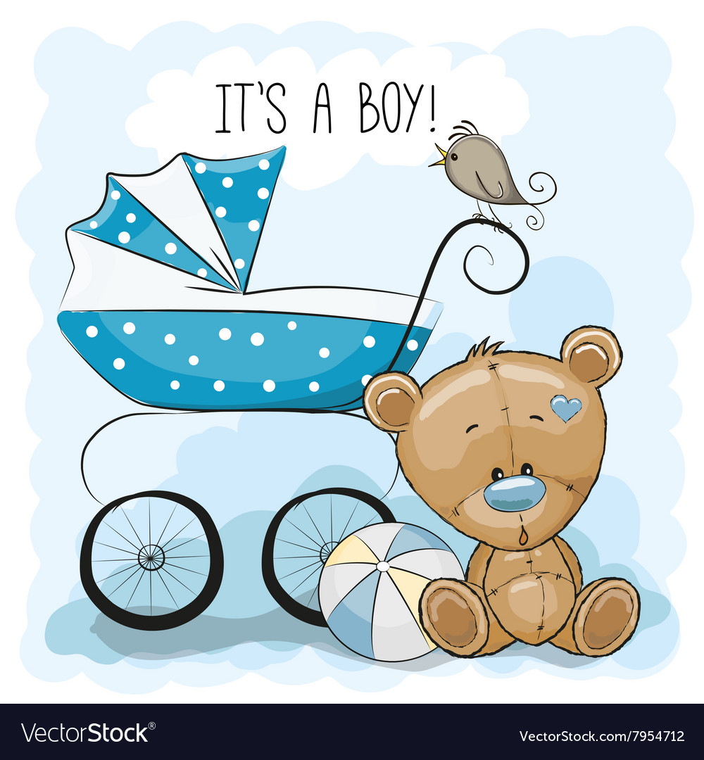 Teddy bear with baby carriage vector