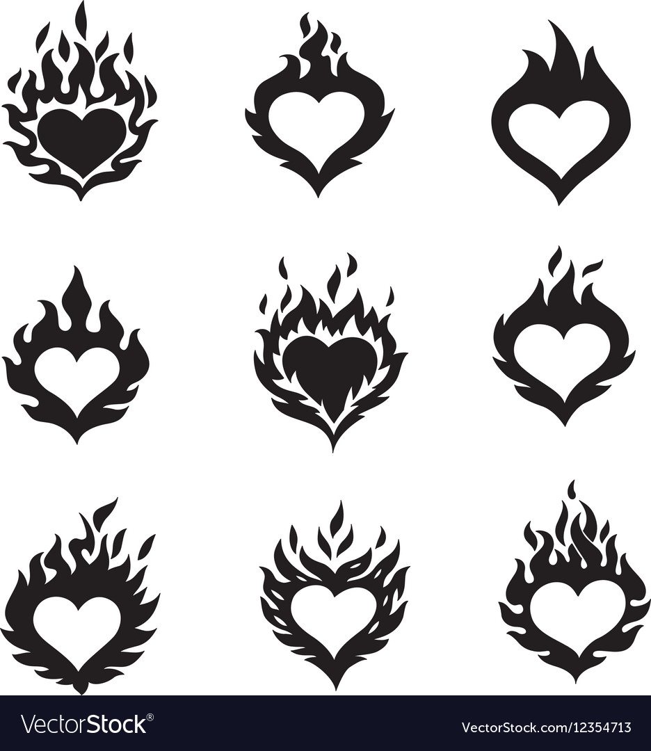 Flame hearts icons vector