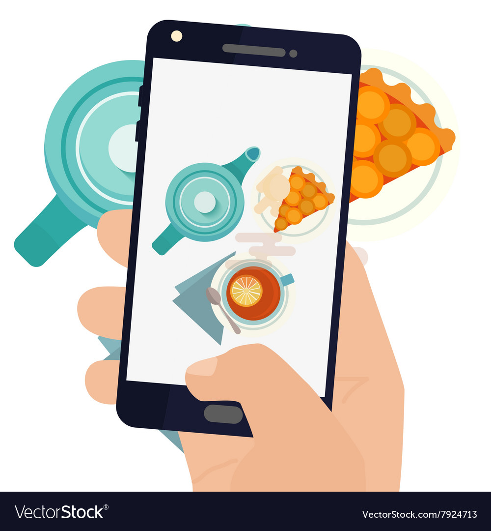 Hand making a smartphone photo of breakfast vector