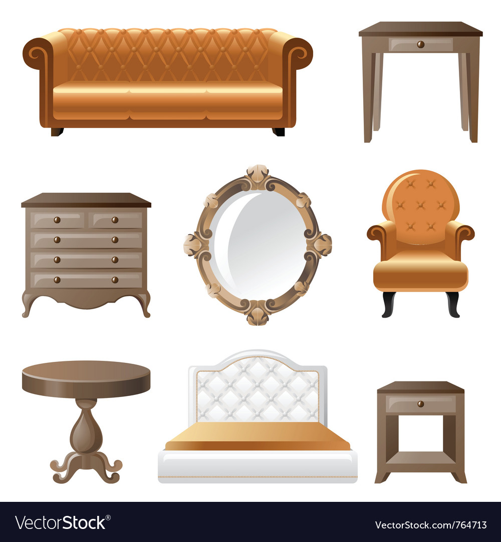 Retrostyled home furniture icons vector