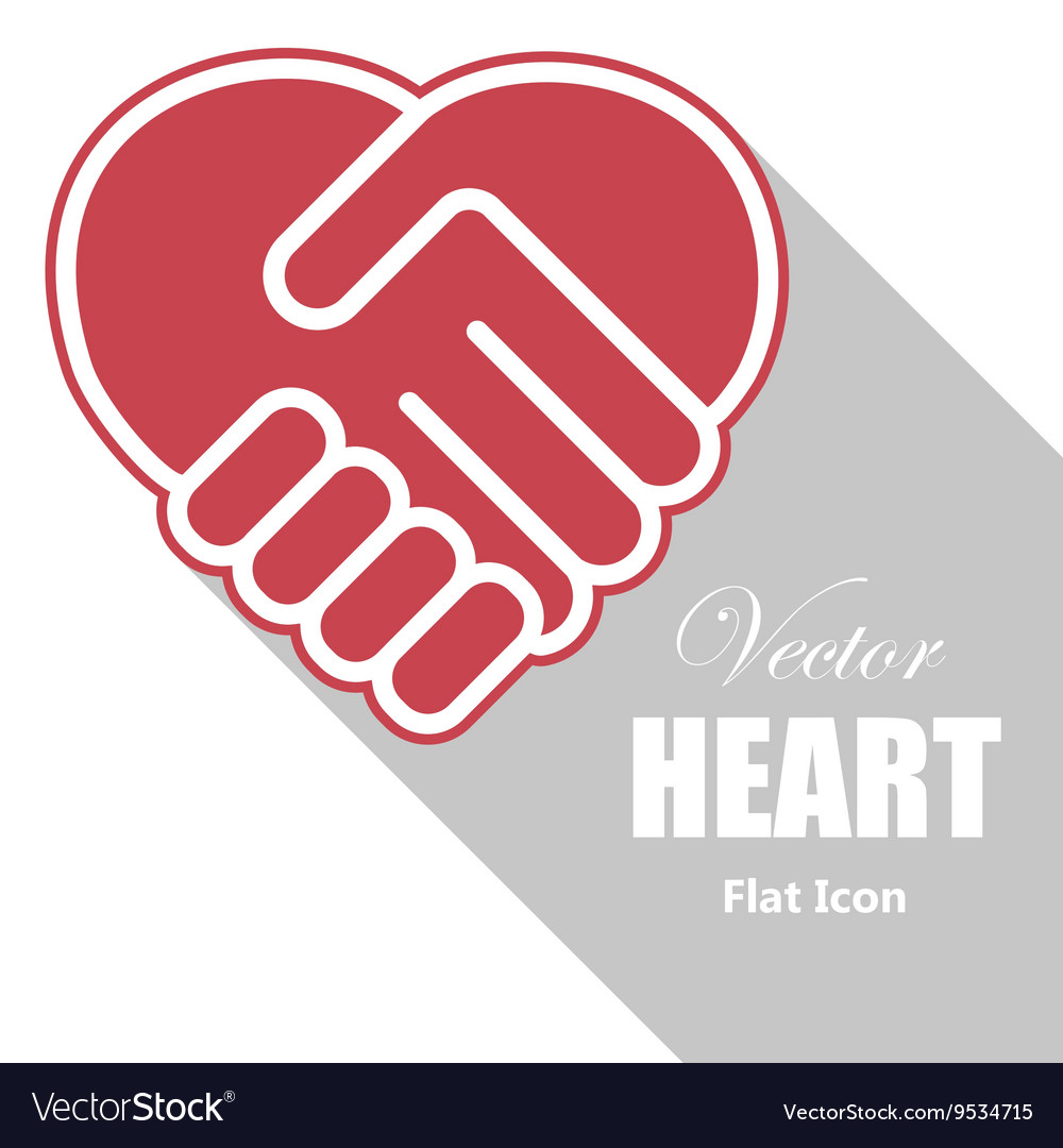 Handshake in a heart shape vector